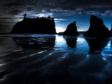 Silhouette of Sea Stacks Photographic Print by Brad Beck