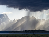 Sunlight and Rain over Tetons Photographic Print by Mike Cavaroc