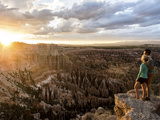 A Couple at Sunset in Bryce Canyon National Park, Utah, in the Summer Overlooking the Canyon Photographic Print by Brandon Flint