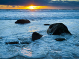 Sunset at Beach on Martha's Vineyard During Winter Photographic Print by James Shive