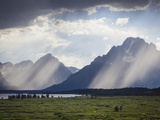 Light Rays Break Through Dark Clouds on the Grand Tetons. View from Jackson Lake Lodge Photographic Print by Sue Anne Hodges