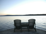 Waiting for the End of the Day, Chairs at Lake Mooselookmegontic, Maine Photographic Print by Nance Trueworthy