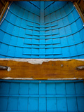 Inside of Blue Canoe Detail Showing Weathered Seat. Photographic Print by James Shive