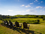 Adirondack Chairs on Lawn at Martha's Vineyard with Ocean  in the Distant View. Photographic Print by James Shive