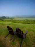 Adirondack Chairs on Lawn at Martha's Vineyard with Fog over Trees in the Distant View Photographic Print by James Shive