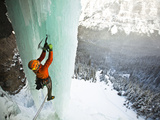 Climbing a Fractured Pillar on Airborne Ranger, a 275' Wi6 in Hyalite Canyon Near Bozeman, Montana. Photographic Print by Ben Herndon