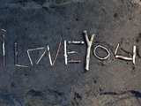 Island of Hawaii, Hawaii: a Message in the Sand in Waipio Valley's Black Sand Beach. Photographic Print by Ian Shive