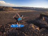Dancer Pose During an Evening Outdoor Yoga Session at the Frenchman-Coulee in Central Washington. Photographic Print by Ben Herndon