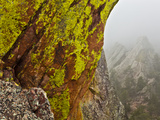 Rock Formations Seen Beyond Lichen Covered Rocks on the First Flatiron Above Boulder, Colorado. Photographic Print by Ethan Welty
