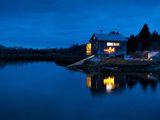 Fishing Shack on Martha's Vineyard Decorated for Christmas with Fish Light. Photographic Print by James Shive