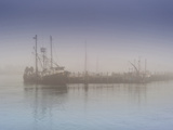 Fog at Fishing Pier in Morning with View of Large Fishing Ship Photographic Print by James Shive
