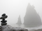 A Small Stone Cairn on Driftwood with Sea Stacks at Rialto Beach, Olympic National Park, Washington Photographic Print by Ethan Welty
