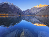 Dawn at Convict Lake in the Fall before the Fisherman Get on the Lake in California. Photographic Print by Miles Morgan