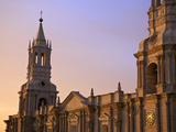Arequipa Cathedral La Catedral at Sunset on Plaza De Armas, Arequipa, Peru Photographic Print by Simon Montgomery