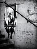 Philippe Hugonnard - Pouliční umění na zdi podél schodů vPaříži Fotografická reprodukce