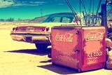 Gammel Coca Cola-køler, Route 66 II Fotografisk tryk af Philippe Hugonnard