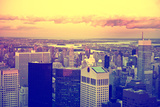 View of city - Sunset - downtown - Manhattan - New York City - United States Photographic Print by Philippe Hugonnard