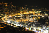 Monaco Travel Advertising - Landscape of the city at Night - Monaco - Monte Carlo - Europe Photographic Print by Philippe Hugonnard