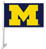 NCAA Michigan Wolverines Car Flag With Wall Brackett Flag