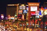 Udsigt til Vegas Strip om natten, Nevada V Fotografisk tryk af Philippe Hugonnard