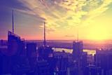 View of city - Sunset - Manhattan - New York City - United States Photographic Print by Philippe Hugonnard
