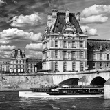 Bateau Mouche des Vedettes de Paris and the Louvre Museum Photographic Print by Philippe Hugonnard