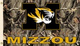NCAA Missouri Tigers Flag With Grommets Realtree Camo Background Flag