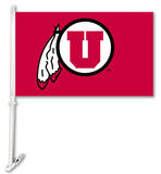 NCAA Utah Utes Car Flag With Wall Brackett Flag