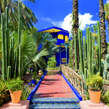 Udsigt til Majorelle-villa i Majorelle-haven, Marrakech Fotografisk tryk af Philippe Hugonnard