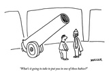 """What's it going to take to put you in one of these babies"" - New Yorker Cartoon Premium Giclee Print by Peter Mueller"