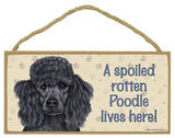 A Spoiled Rotten Poodle (Black) Lives Here Wood Sign Wood Sign
