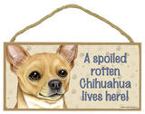 A Spoiled Rotten Chihuahua (Tan) Lives Here Wood Sign Wood Sign