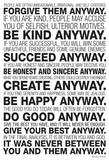 Mother Teresa Anyway Quote - Afiş