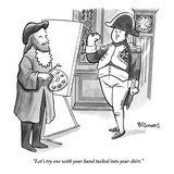 """""""Let's try one with your hand tucked into your shirt."""" - New Yorker Cartoon Premium Giclee Print by Benjamin Schwartz"""