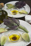Artichoke with Dipping Sauce (Oil, Salt, Pepper and Vinegar), Cuisine Photographic Print by Nico Tondini