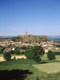 View of Fortress with Town, Polignac, Haute-Loire, France Photographic Print by David Barnes