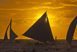 Sailing in the Ocean at Sunset, Boracay Island, Aklan Province, Philippines Photographic Print by Keren Su