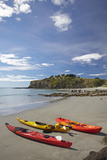 Kayaks, Doctors Point, Mapoutahi Pa, Maori Pa Site, South Island, New Zealand Photographic Print by David Wall