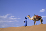 Man Leading Camel on Sand Dunes, Tinfou (Near Zagora), Morocco, Africa Photographic Print by John & Lisa Merrill