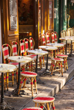 Cafe Tables and Chairs, Place Du Tertre, Montmartre, Paris, France Photographic Print by Brian Jannsen