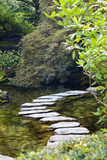 Autumn Color, Stepping Stones, Butchard Gardens, Victoria, British Columbia, Canada Photographic Print by Terry Eggers