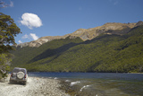 4Wd on Track, North Mavora Lake, Livingstone Mountains, South Island, New Zealand Photographic Print by David Wall