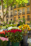 Flowers for Sale on Market Day in Aix-En-Provence, France Fotodruck von Brian Jannsen