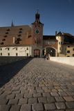 Cobblestone, Stone Bridge, Danube, Regensburg, Germany Photographic Print by Dave Bartruff