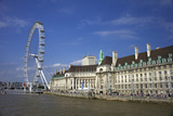 South Bank, London Eye, County Hall Along the Thames River, London, England Photographic Print by Marilyn Parver
