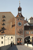 Tower Entrance, Old Town from Stone Bridge, Danube River, Regensburg, Germany Photographic Print by Dave Bartruff
