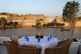 Rooftop Restaurant Bhairo at Taj Lake Palace Hotel, Udaipur, India Photographic Print by Kymri Wilt
