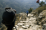 Trekkers on the Trail Towards Namche Bazaar, Khumbu, Nepal Photographic Print by David Noyes