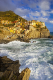 Swirling Ocean at the Foot of Manarola in the Cinque Terre, Liguria Italy Photographic Print by Brian Jannsen