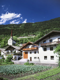 View of Town, Churches and Houses, Oetz, Tyrol, Austria Photographic Print by Walter Bibikow